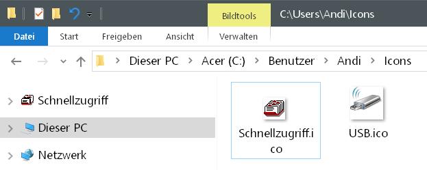 Windows 10 Icon Schnellzugriff ändern 10