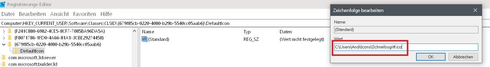 pfad zum bild - Windows 10 Icon Schnellzugriff ändern