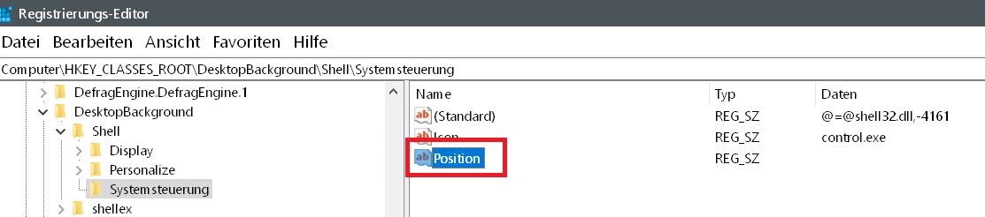 position - Windows 10 Systemsteuerung ins Kontextmenü hinzufügen