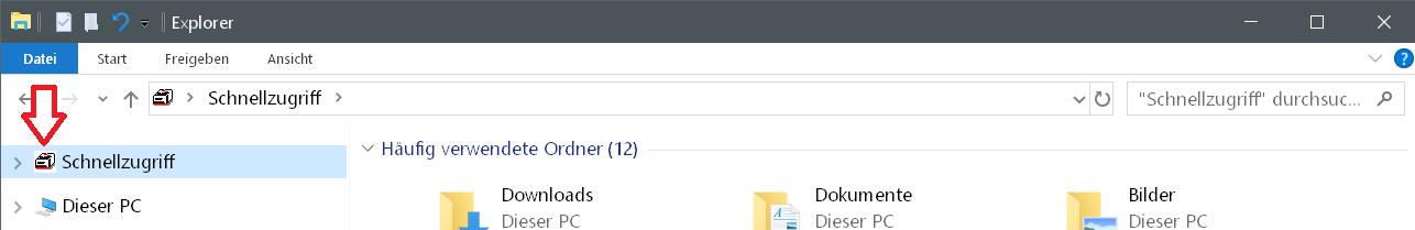 schnellzugriff icon neu - Windows 10 Icon Schnellzugriff ändern