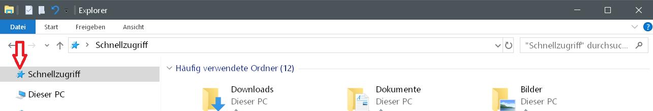 schnellzugriff icon standard - Windows 10 Icon Schnellzugriff ändern