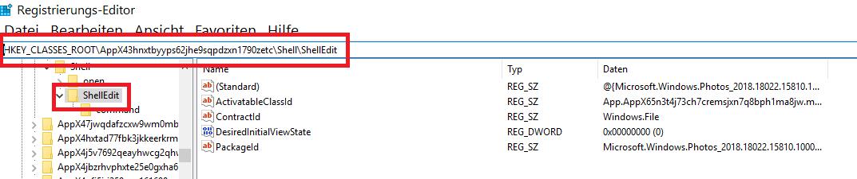 """shelledit - Windows 10 """"Mit Fotos bearbeiten"""" aus dem Kontextmenü entfernen oder nur verstecken"""