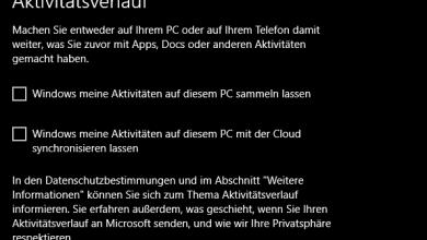 Bild von Windows 10 Aktivitätsverlauf aktivieren/deaktivieren