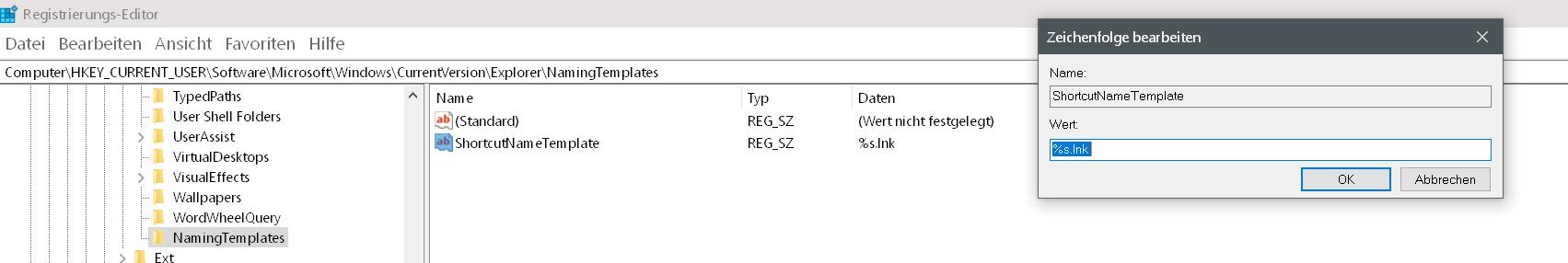 """wert eingegeben - Windows 10 Den Zusatz """"Verknüpfung"""" entfernen auf dem Desktop"""