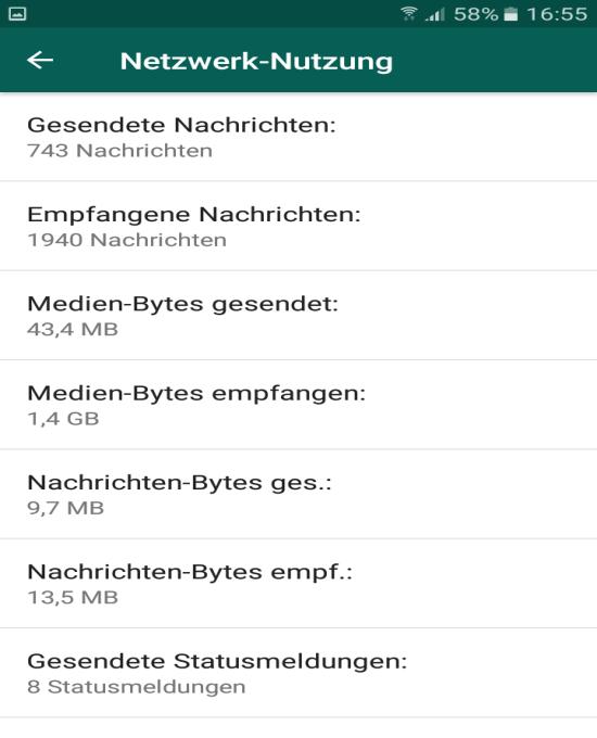 whatsapp netzwerknutzung gesamt - WhatsApp Menge der verschickten und empfangenen Daten anzeigen