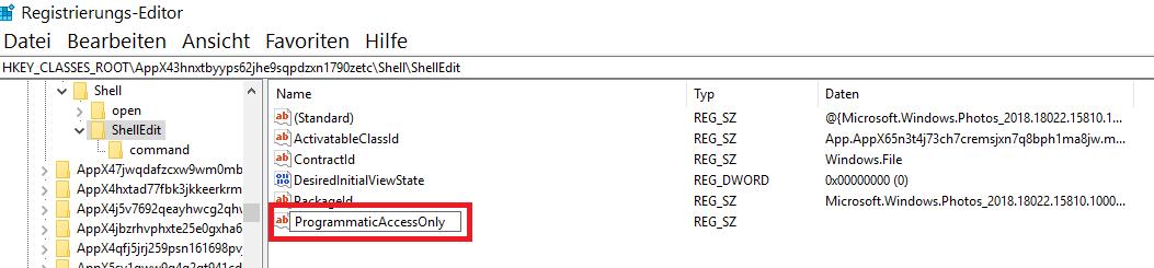"""zeichenfolge erstellt - Windows 10 """"Mit Fotos bearbeiten"""" aus dem Kontextmenü entfernen oder nur verstecken"""