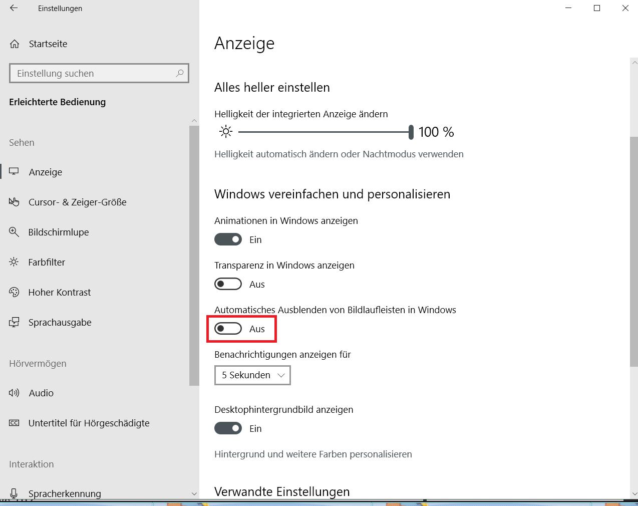 ausblenden ausgeschaltet - Windows 10 Scrollleisten in den Einstellungen und Apps immer anzeigen