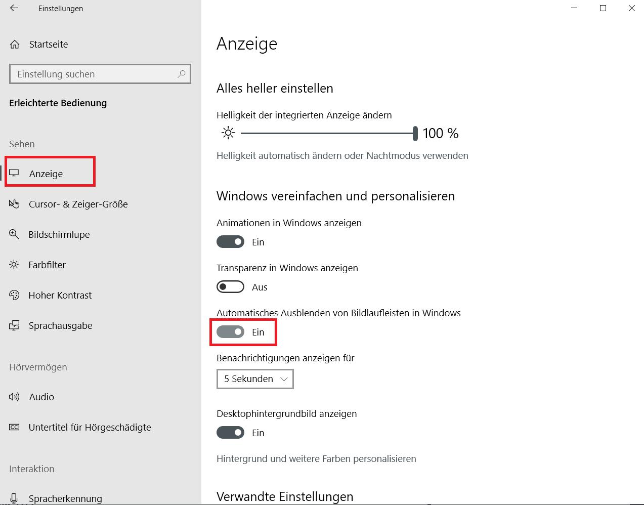 ausblenden eingeschaltet - Windows 10 Scrollleisten in den Einstellungen und Apps immer anzeigen