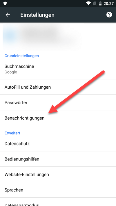 Benachrichtig Android