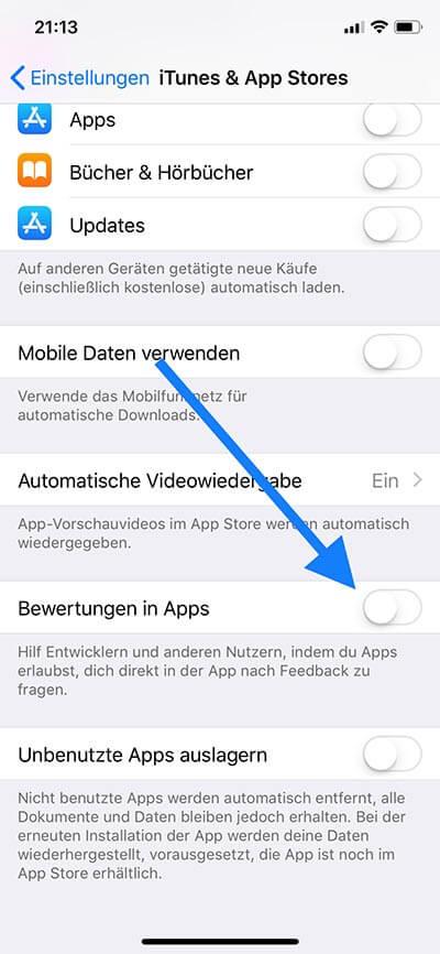 App Bewertung deaktivieren