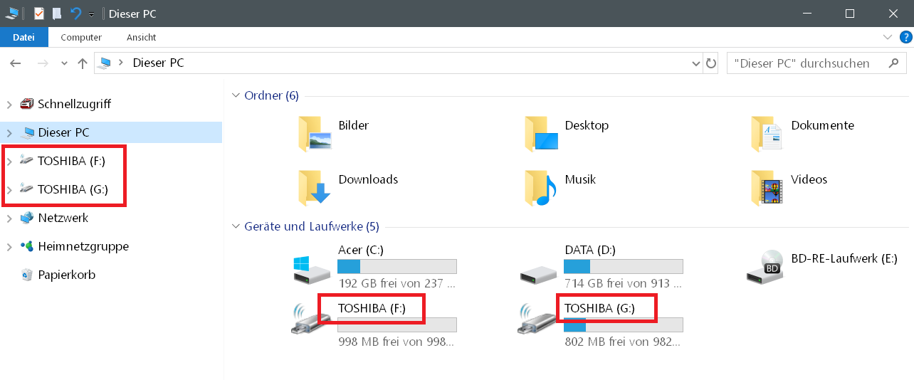 gleicher name - Windows 10 USB-Stick umbenennen