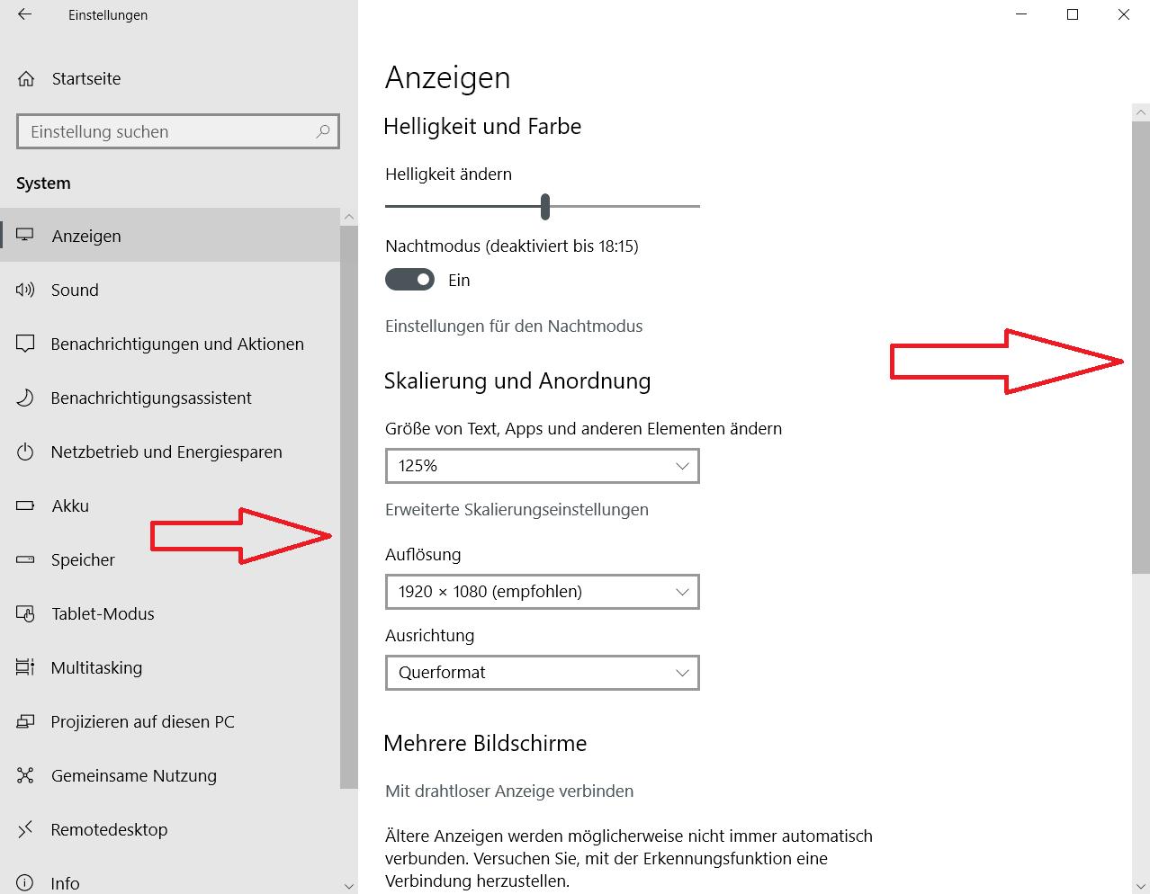 mit scrollleisten - Windows 10 Scrollleisten in den Einstellungen und Apps immer anzeigen