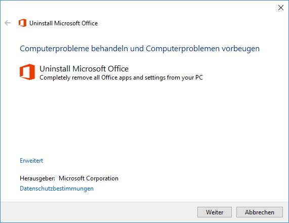 Office Komplet deinstalliert Entfernen mit Microsoft Toll