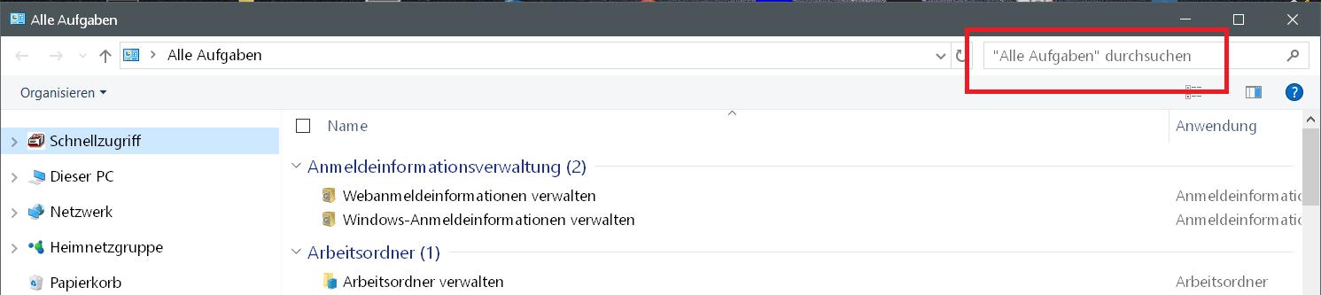 suchfunktion - Windows 10 Godmode Ordner erstellen