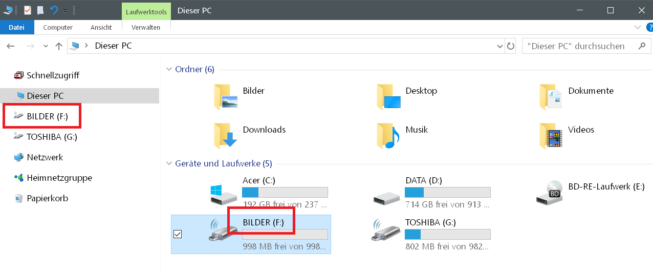 umbenannt - Windows 10 USB-Stick umbenennen