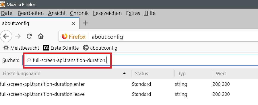 beide eintraege - Firefox Überblenden zu Vollbild Videos deaktivieren