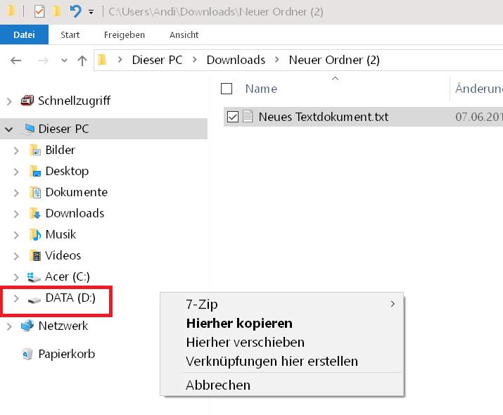 datei verschieben oder kopieren - Windows 10 Standardaktion kopieren, verschieben ändern