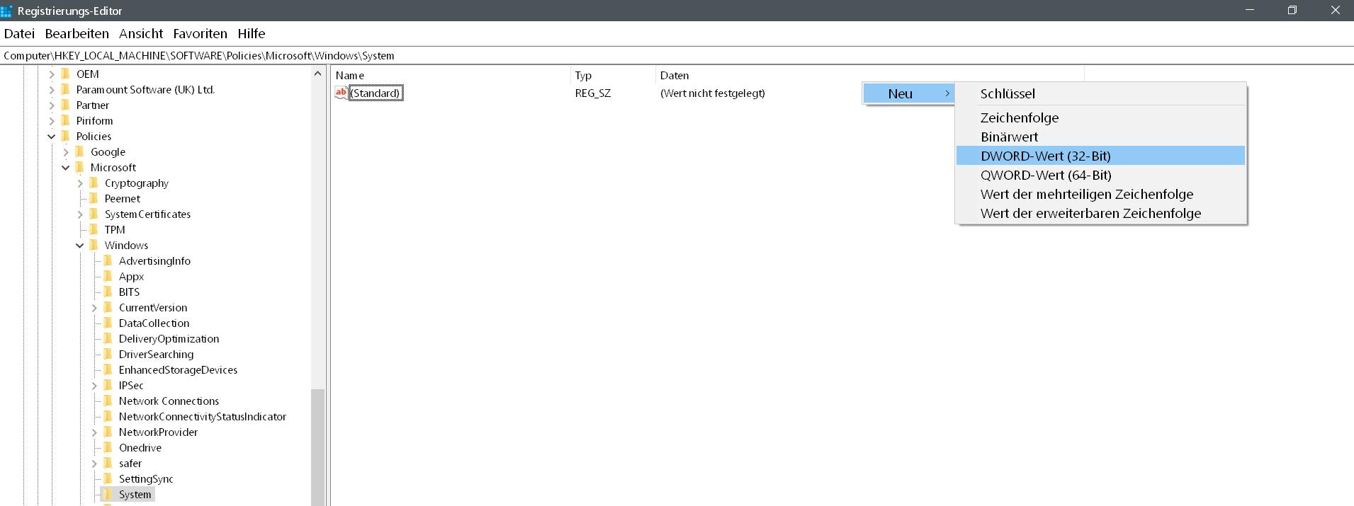 dword erstellen - Windows 10 Telefon deaktivieren