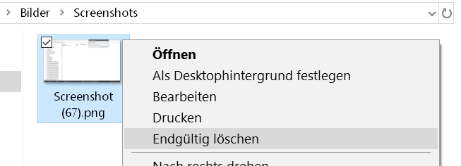 eintrag endgueltig loeschen - Windows 10 Dateien endgültig löschen