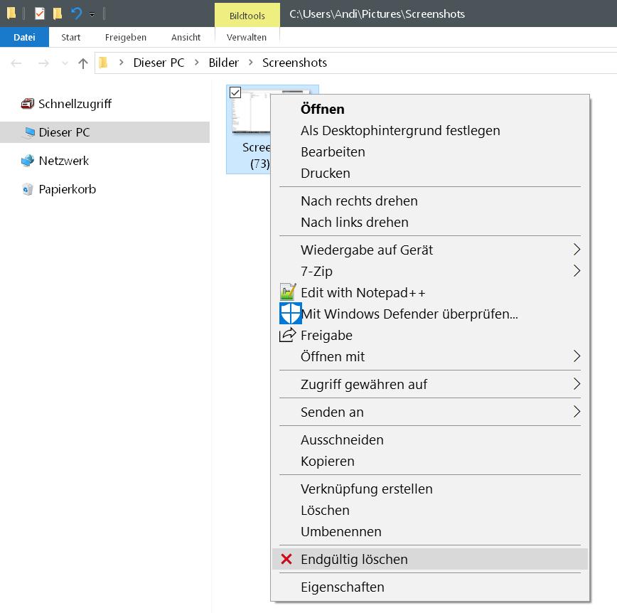 endgueltig loeschen komplett - Windows 10 Dateien endgültig löschen