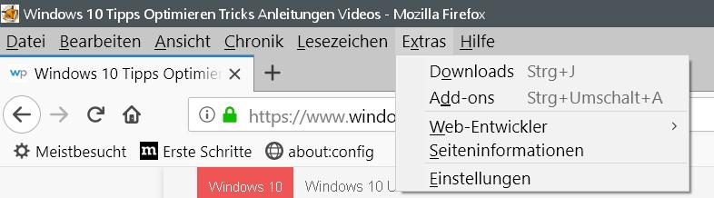 extra ohne - Firefox Bei Sync anmelden entfernen