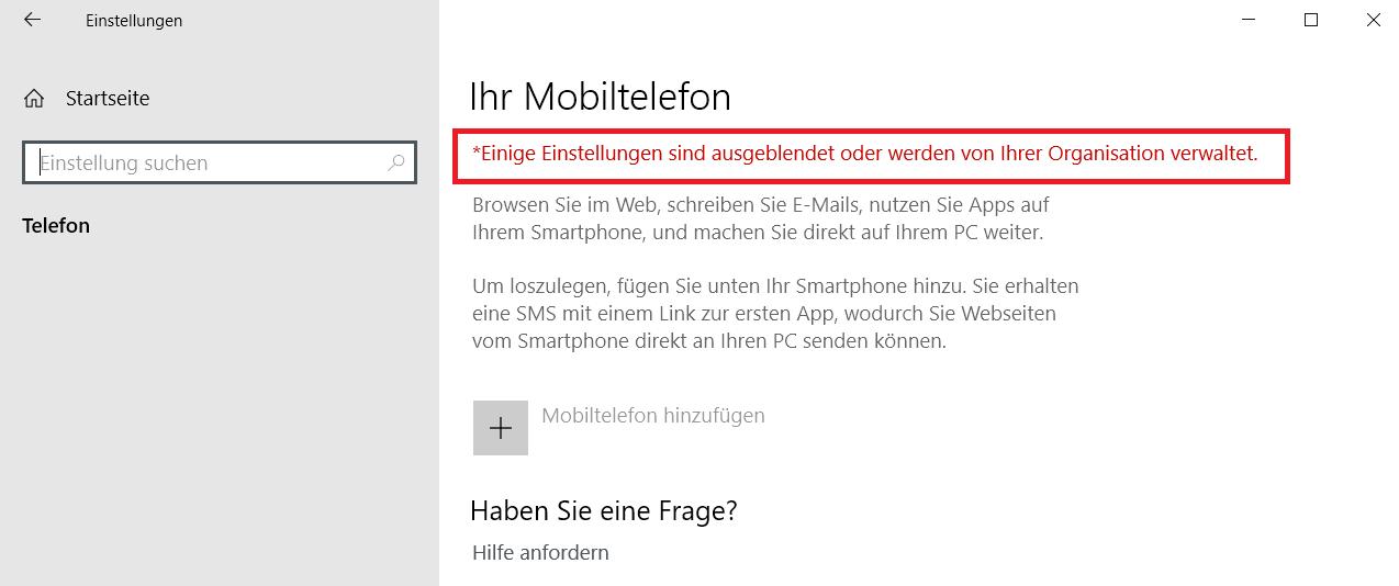 keine funktion - Windows 10 Telefon deaktivieren