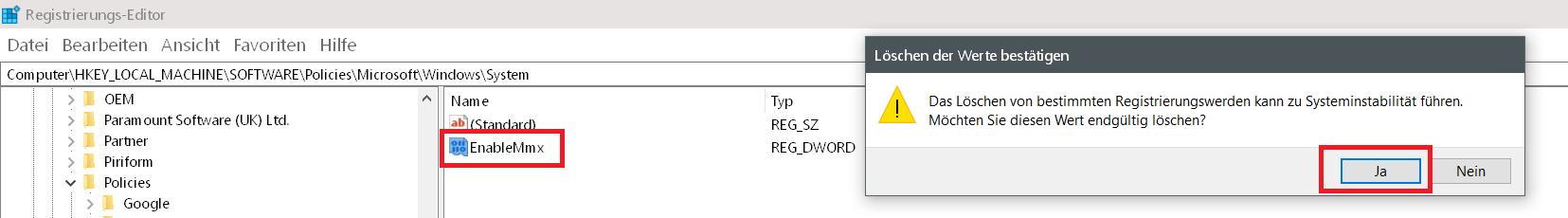 loeschen bestaetigen - Windows 10 Telefon deaktivieren