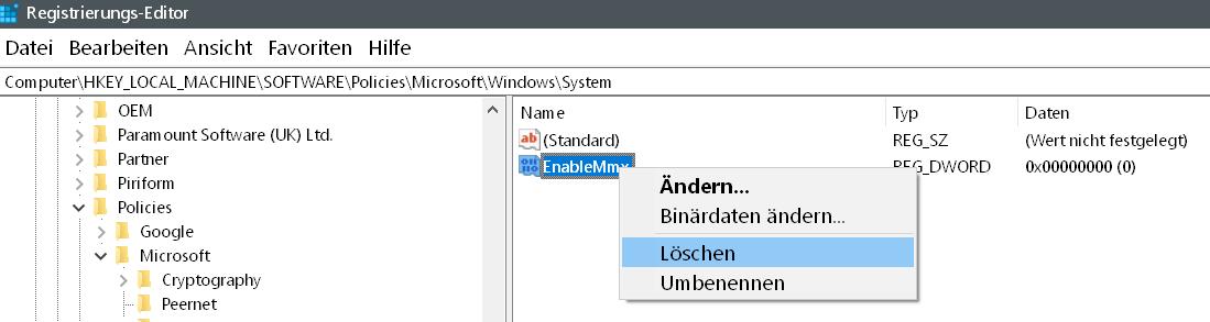 loeschen - Windows 10 Telefon deaktivieren