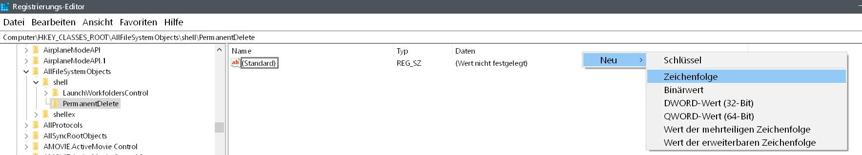 neue zeichenfolge - Windows 10 Dateien endgültig löschen
