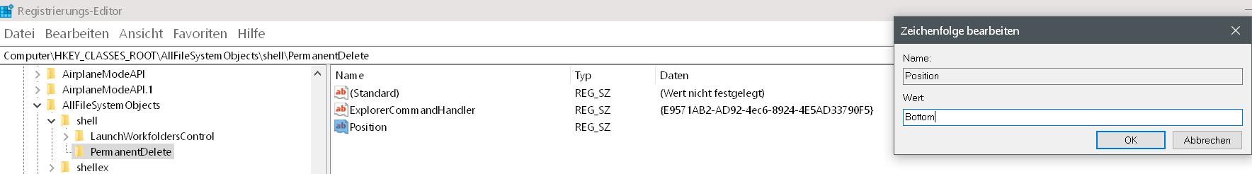 position wert bottom - Windows 10 Dateien endgültig löschen