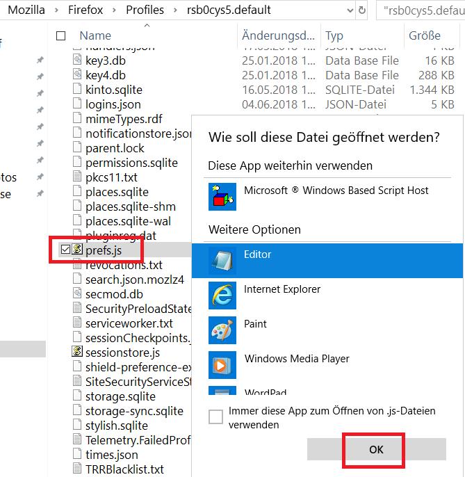 prefs.js mit editor oeffnen - Firefox die gesamte Schrift im Firefox vergrößern