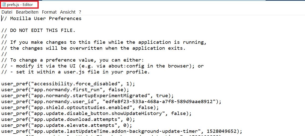 prefs.js offen - Firefox die gesamte Schrift im Firefox vergrößern