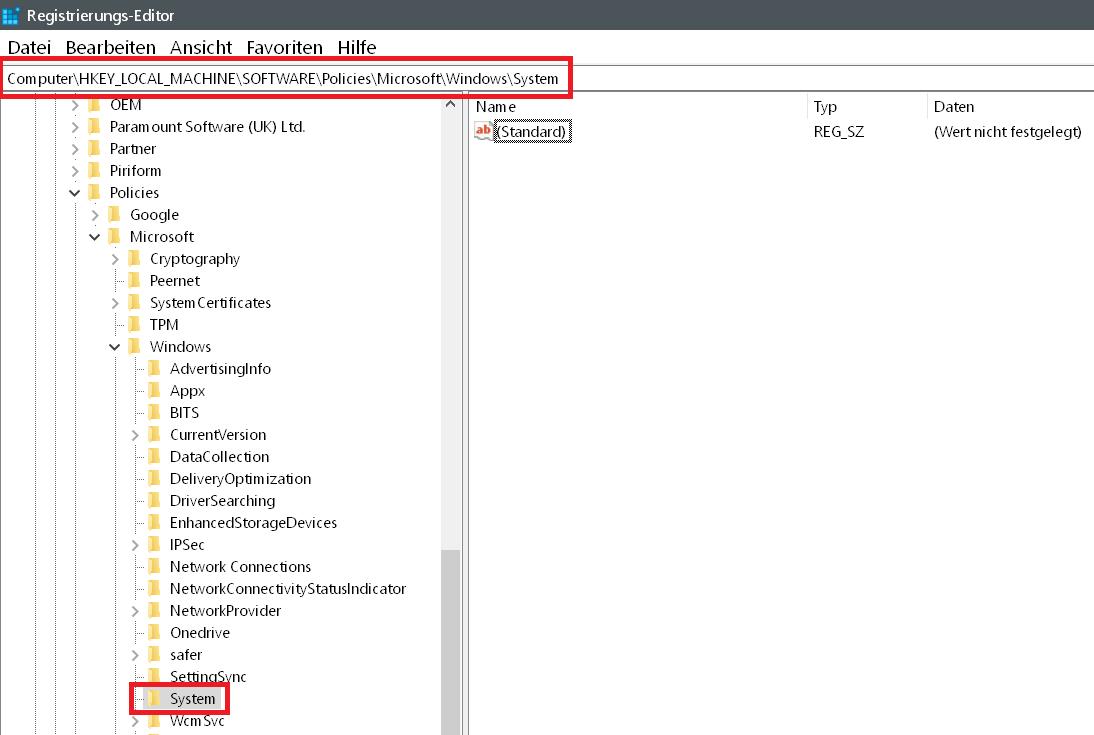 reg suche - Windows 10 Telefon deaktivieren
