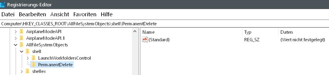 schluessel erstellt - Windows 10 Dateien endgültig löschen