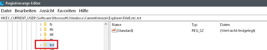 txt gefunden - Windows 10 Öffnen mit.. Einträge im Kontextmenü ändern