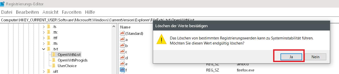 warnung bestaetigen - Windows 10 Öffnen mit.. Einträge im Kontextmenü ändern