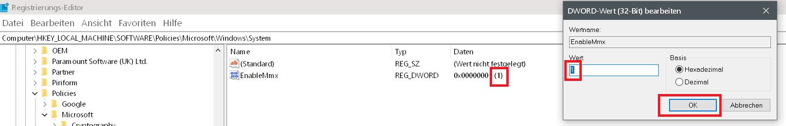 wert auf 1 - Windows 10 Telefon deaktivieren