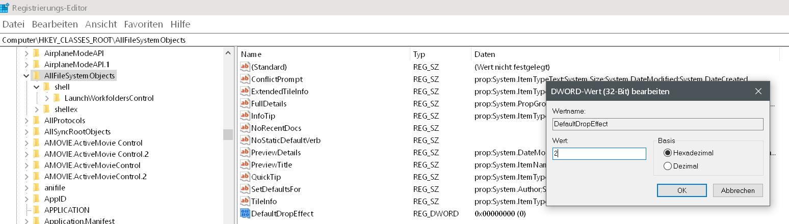 wert auf 2 - Windows 10 Standardaktion kopieren, verschieben ändern