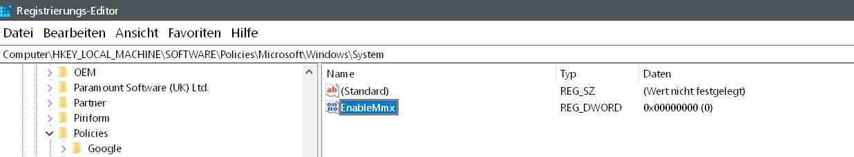 wert erstellt - Windows 10 Telefon deaktivieren