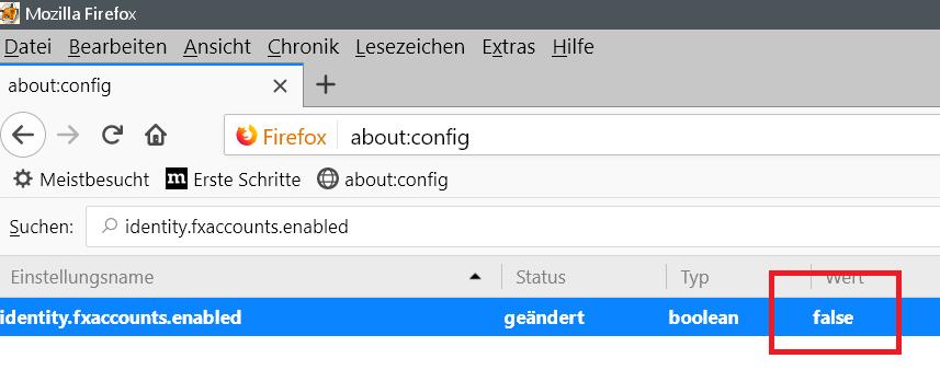 wert geaendert - Firefox Bei Sync anmelden entfernen