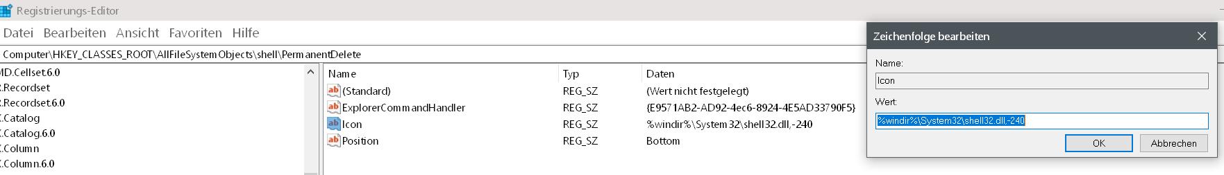 wert icon eingetragen - Windows 10 Dateien endgültig löschen