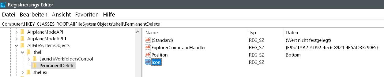 zeichenfolge icon - Windows 10 Dateien endgültig löschen
