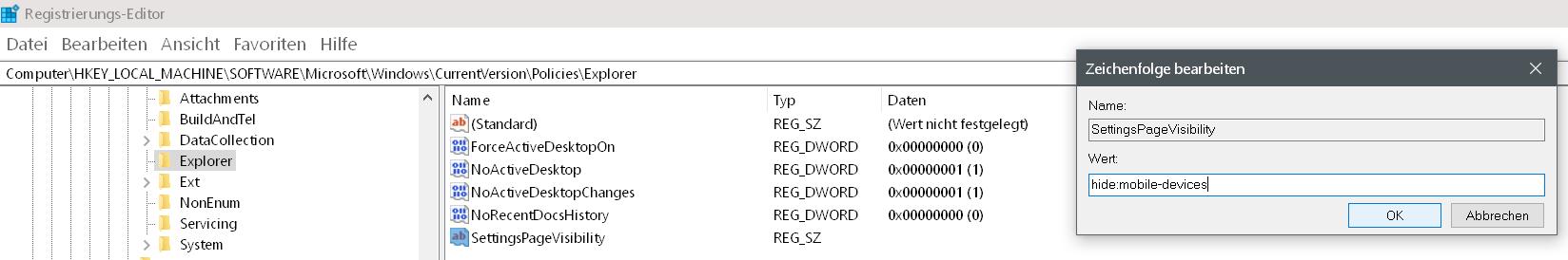 zeichenfolge wert - Windows 10 Eintrag Telefon unter Einstellungen entfernen