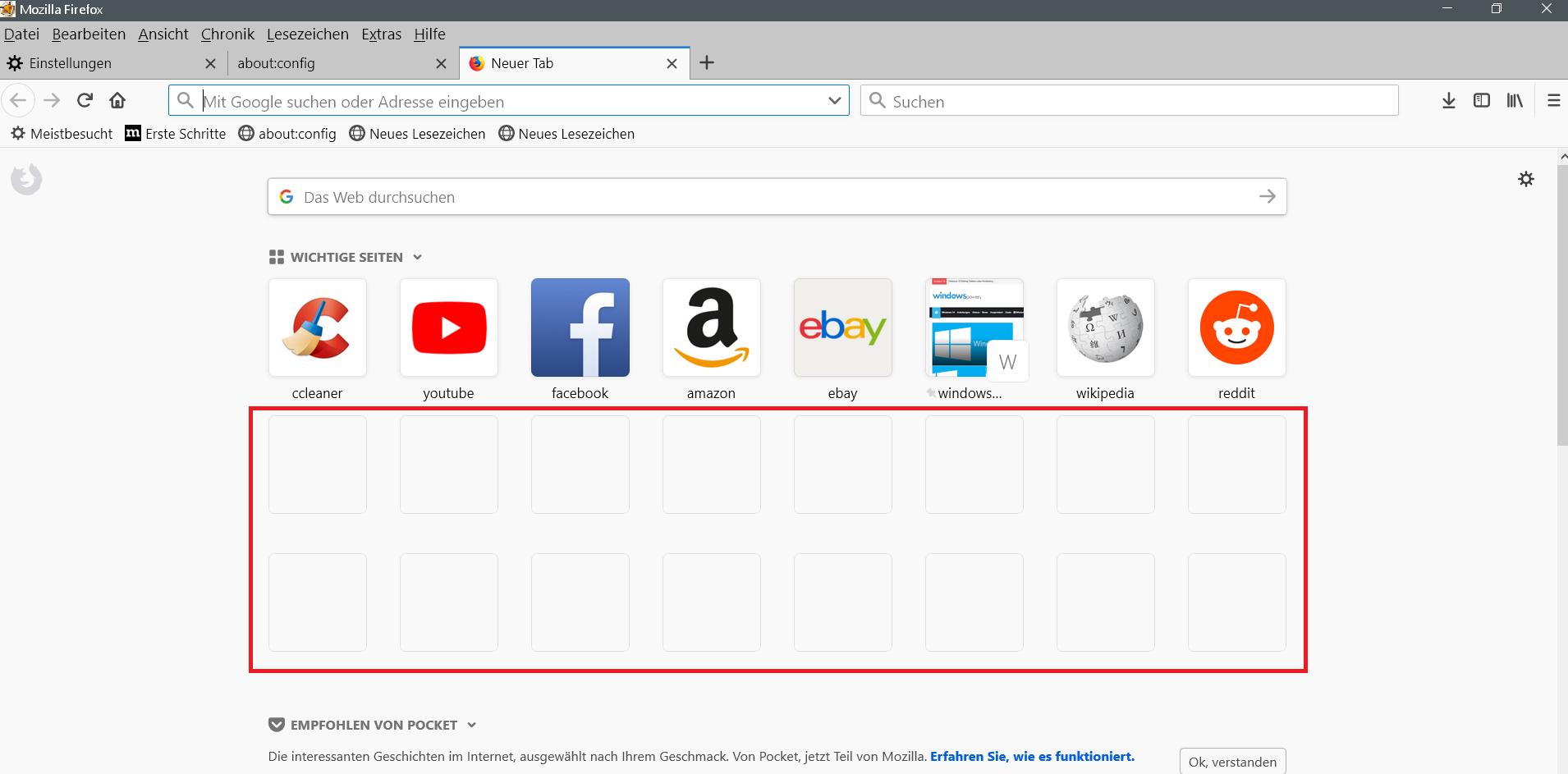 3 reihen - Firefox Neuer Tab Wichtige Seiten mehr Einträge