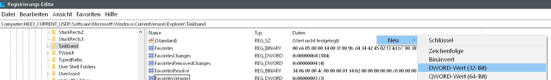 dword neu - Windows 10 Vorschaubild in der Taskleiste vergrößern