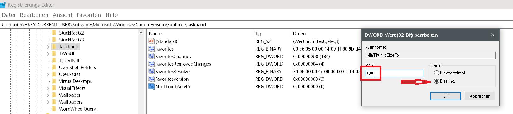 dword wert - Windows 10 Vorschaubild in der Taskleiste vergrößern