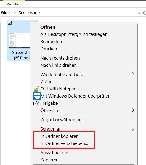 eintraege im kontext - Windows 10 Ordner kopieren/verschieben im Kontextmenü