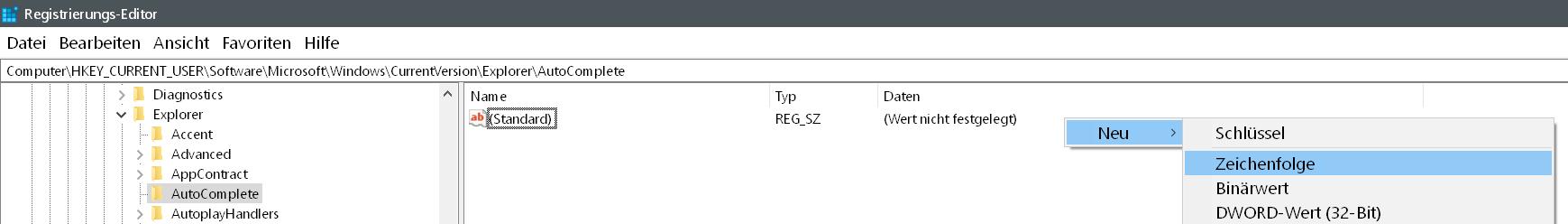 neue zeichenfolge 1 - Windows 10 Autovervollständigung im Windows Explorer deaktivieren