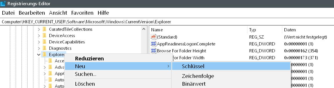 neuen schluesel - Windows 10 Autovervollständigung im Windows Explorer deaktivieren