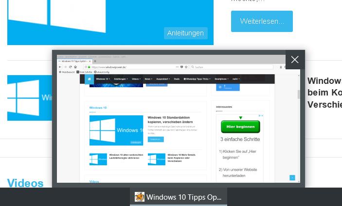 Windows 10 Vorschaubild in der Taskleiste vergrößern 10